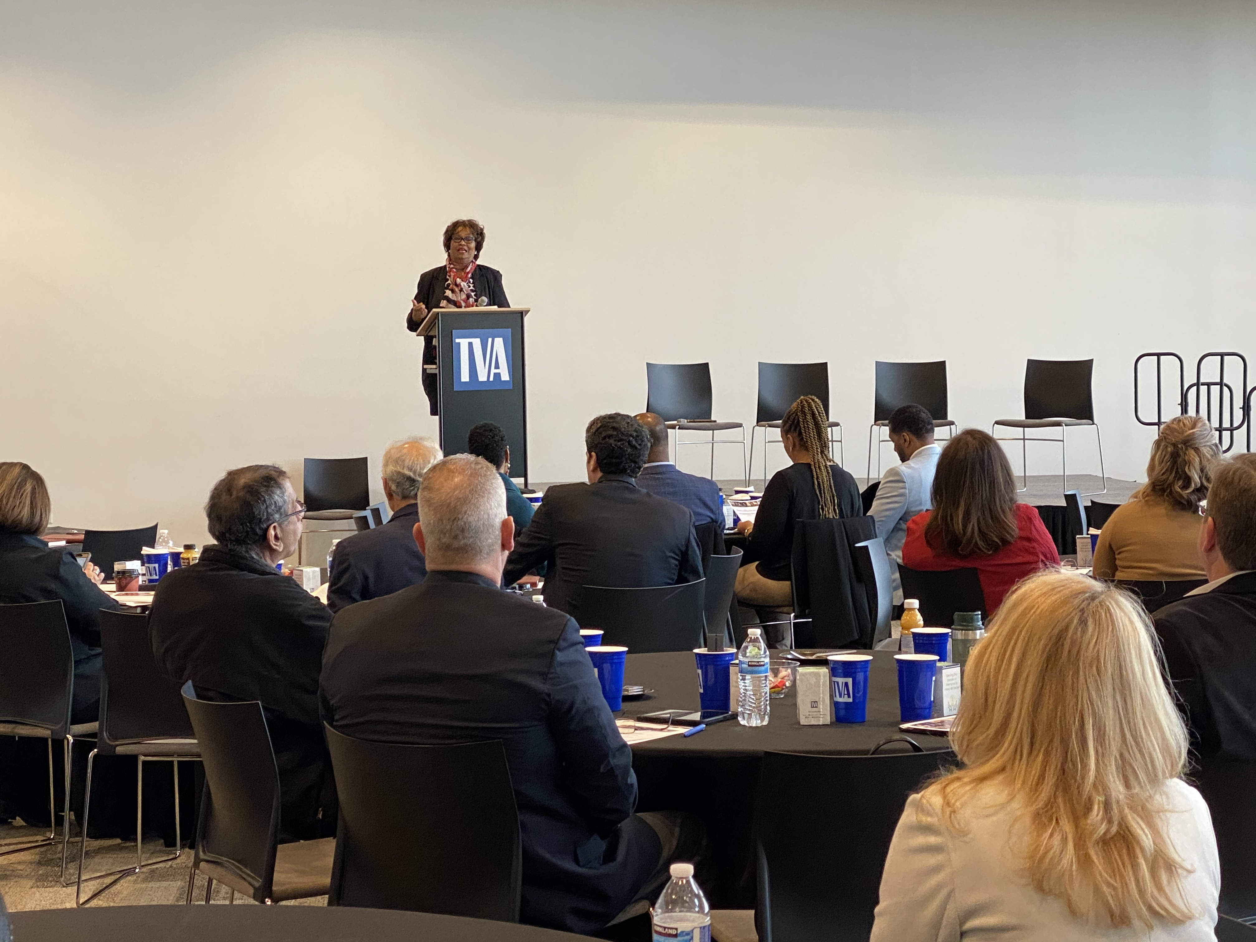 President & CEO of the Greater Memphis Chamber, Beverly Robertson, delivering remarks to attendees.