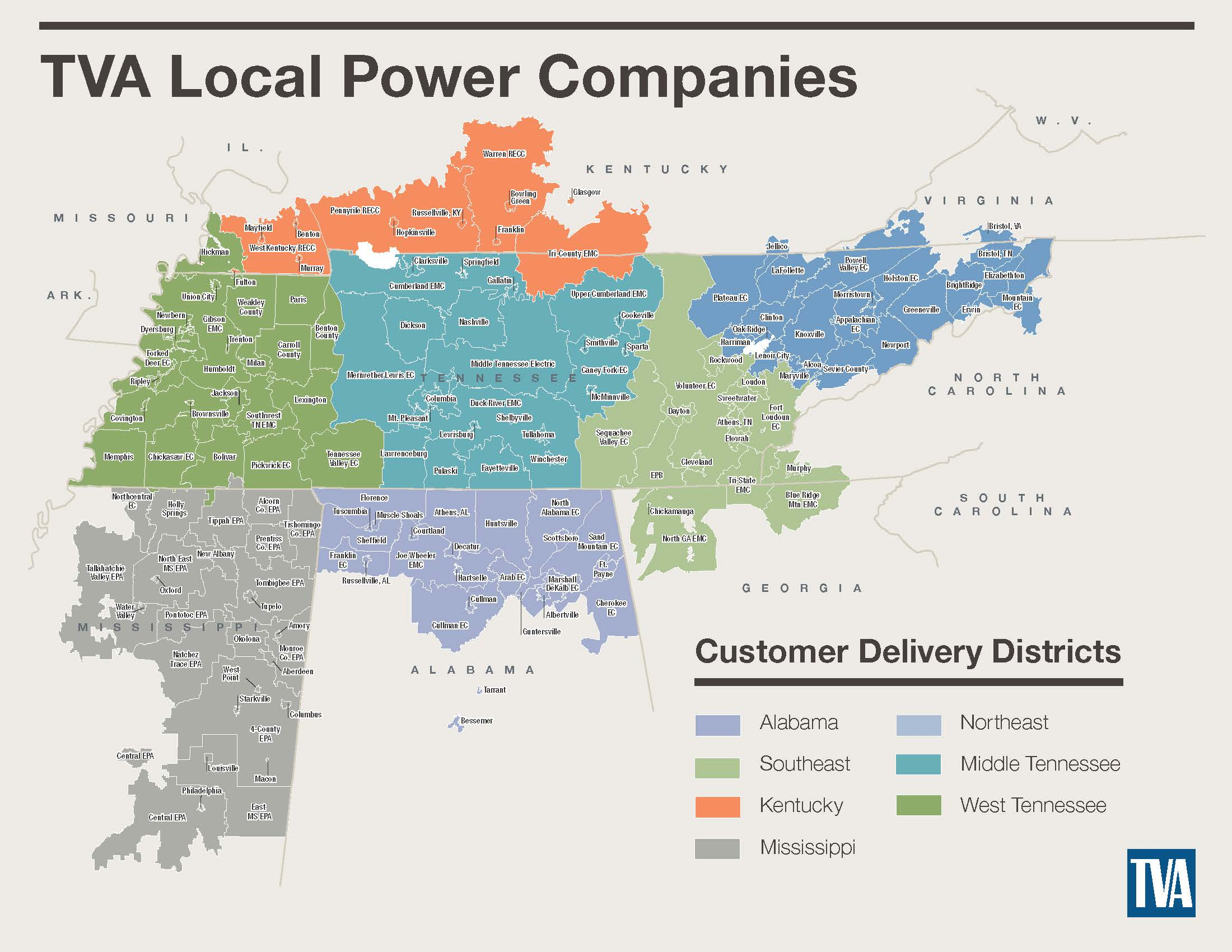 map of tva customer delivery districts