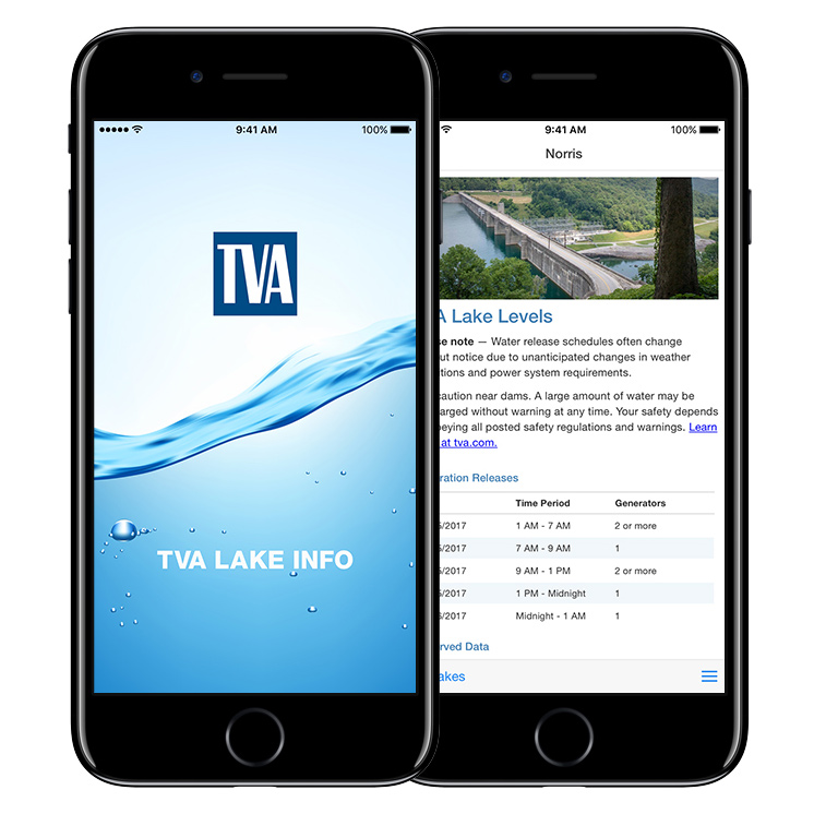 TVA LakeInfo App on IPhone
